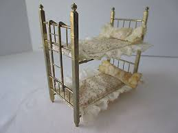 Doll House Bunk Bed Vintage Metal Brass Tone Miniature Doll House Bunk Bed Toy