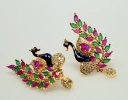 stud earrings online studs earrings peacock ruby and emerald big stud earrings online