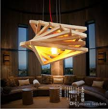 Arts Crafts Lighting Fixtures Novelty Modern Handmade Wood Pendant Lights For Bar Restaurant