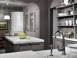 Kitchen Wall Corner Cabinet by Grey Wash Kitchen Cabinets With Carrera Marble Counter Tops