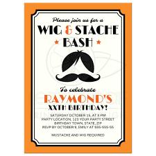 retro wig and mustache bash birthday party invitation orange black