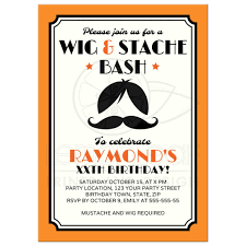 birthday party rsvp retro wig and mustache bash birthday party invitation orange black