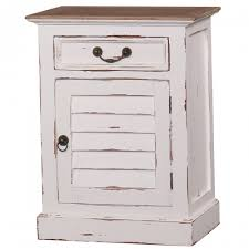 distressed white side table bramble shutter bedside table white harvest with driftwood top
