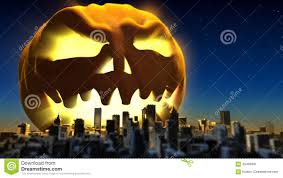 giant monster pumpkin attacked a city fantasy halloween 3d