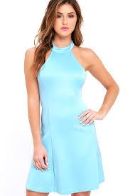 cute light blue dress fit and flare dress sleeveless dress