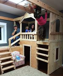 hubby made this awesome triple bunk for our girls they love indoor jungle gym what awesome idea put this the