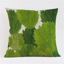 tropical plants green leaves monstera decorative velvet cushion