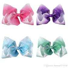 pink hair bow big hair bow diamante hair bow clip 8 inch hair bow for