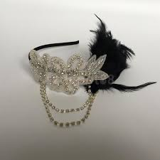 gatsby headband online shop vintage womens feather 1920s headpiece flapper chain