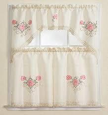 3pc kitchen curtain set beige pink rose leaf floral embroidery