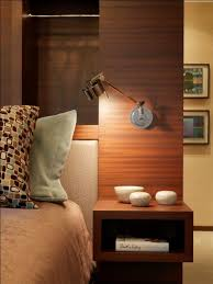 Side Table With Built In Lamp Modern Bedroom With Mounted Side Table And Small Reading Lamp