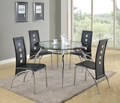 black glass dining room sets crown mark mila 5 piece round glass table and modern side chair