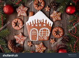 gingerbread house stars cookies christmas composition stock photo