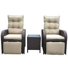 Outdoor Reclining Chairs Mykonos Twin Outdoor Recliner Set Brown