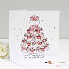 wedding greetings card personalised wedding cupcakes greeting card by martha brook