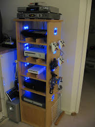 nerdy home decor cabinet for a gaming geek diy games hanger and consoles