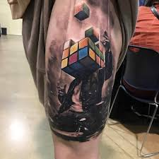 rubik u0027s man by kylecotterman at distinctiontattoo in dayton ohio