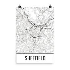 Sheffield England Map by Sheffield England Street Map Poster Wall Print By Modern Map Art