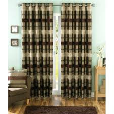 Chocolate Curtains Eyelet Sundour Portobello Chocolate Striped Eyelet Readymade Curtains