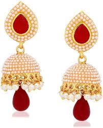 earring necklace ruby images Buy meenaz traditional kundan pearl jhumki earrings jpeg
