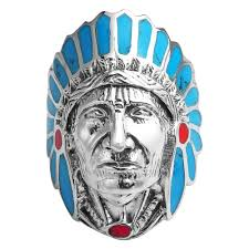 blue red stone accented native american indian chief head 925 native american indian chief head strlng silver ring