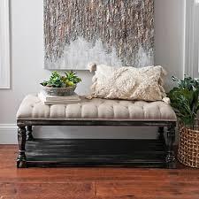 gray velvet tufted storage bench kirklands