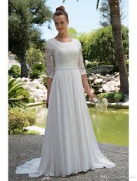 discount informal lace chiffon modest beach wedding dresses with