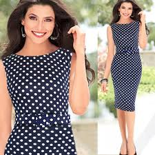 temperament polka dot fitted pencil dress with belt lalalilo