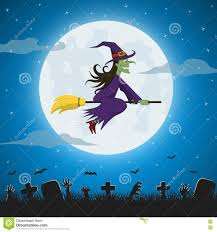 halloween flying witch background witch on a broomstick on the background of the moon stock vector