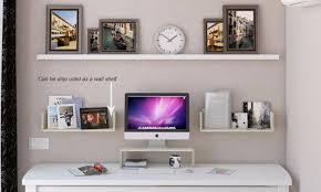 multipurpose natural wood computer monitor stand riser desk shelf