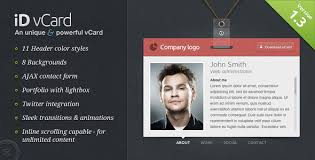 free virtual business card vcard html website templates and