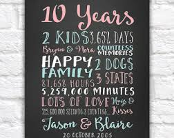 10 year anniversary gift for custom anniversary gifts paper canvas 10 year anniversary 10th