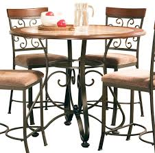 steve silver thompson round metal counter table with faux marble