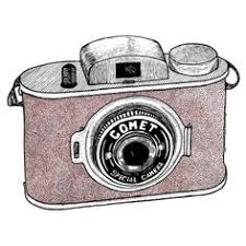 hand sketch drawing illustration of a digital slr camera drawing
