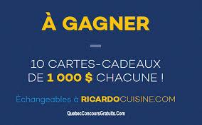 ricardo cuisine concours 1000 boutique ricardo cuisine québec concours gratuits
