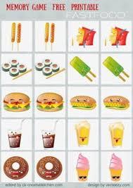 fast food memory game free printables preschool baby