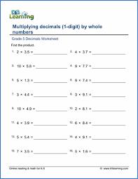 grade 5 multiplication of decimals worksheets free u0026 printable