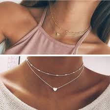 double chain necklace choker images Silver gold plated 2 double layer beaded chain choker necklace
