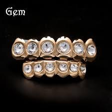 Halloween Gifts For Men Wholesale Luxury Hip Hop Braces Gems Grillz For Men Cool Gold