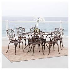 Solid Cast Aluminum Patio Furniture by Haitian 7pc Cast Aluminum Patio Dining Set Brown Christopher