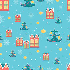 retro wrapping paper christmas wrapping paper background with houses christmas
