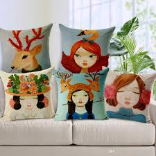 Patio Furniture Cushion Covers - 9 style cartoon girls cushions pillows covers deer elk giraffe