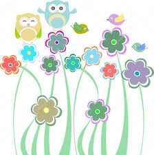 cute kids background with flowers and birds u2014 stock photo