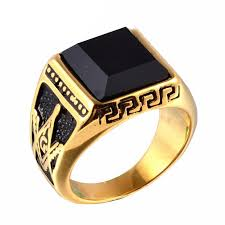 titanium gold rings images Men punk titanium steel ring vintage jewelry carved geometric jpg