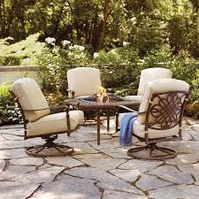 Patio Chairs With Cushions Hampton Bay Cavasso 5 Piece Aluminum Patio Fire Pit Conversation