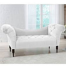 White Tufted Loveseat Amazon Com Skyline Furniture Tufted Chaise Lounge In White