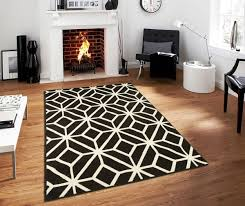 Modern White Rug Black Moroccan Trellis 8x11 Area Rug Carpet Abstract