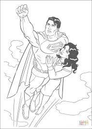 superman flying lois lane coloring free printable