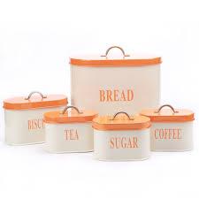 shop amazon com food bins amp canisters hot sale orange x729 metal oval bread bin box container biscuit tea coffee sugar