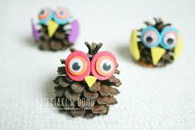 pinecone owls szyszkowe sowy animal crafts zwierzęta